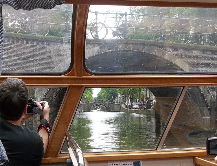 Amsterdam, view from the tour boat at the Seven Bridges