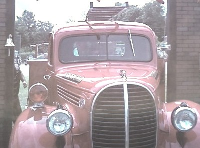 Windshield of antique fire truck