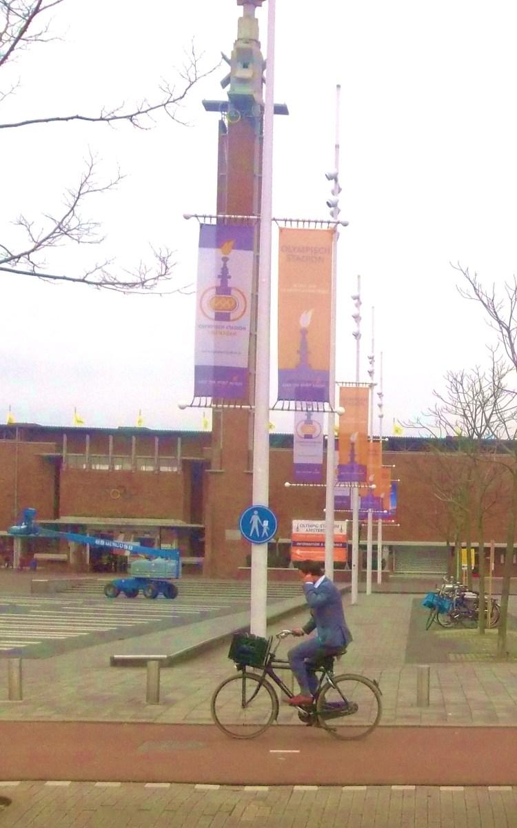 A Lone biker by Olympic Stadium, Amsterdam