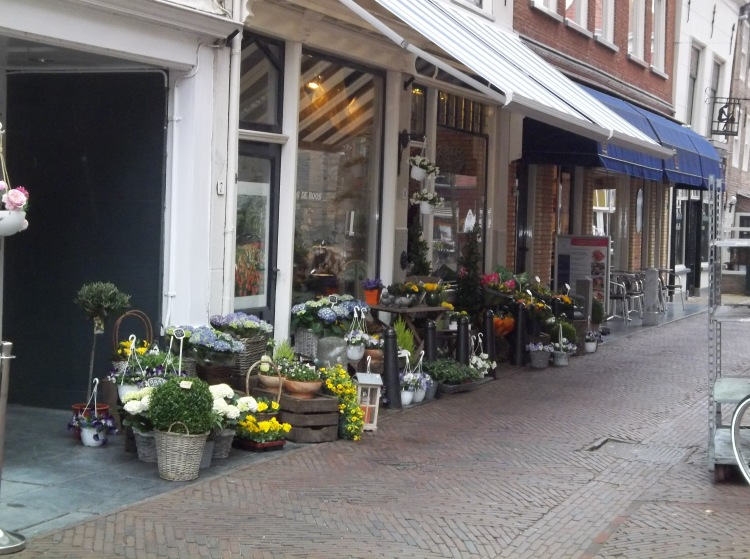 A flower shop behind the Oude Kerk. Delft