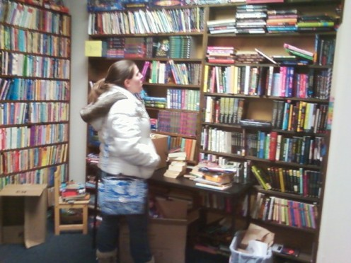 Melanie in YA section at Annie's
