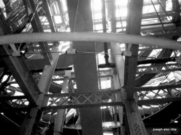 Beams cross at the Guiness factory in Dublin