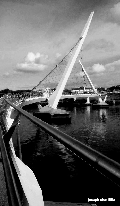 And of course no public transport system would be complete in any land of lakes and rivers without the bridge. This is the Peace bridge in Derry